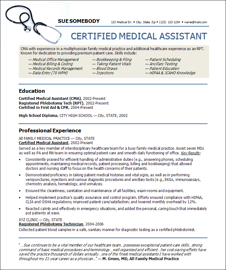 28+ [ Sample Resume For A Certified Medical Assistant ] | Medical ...